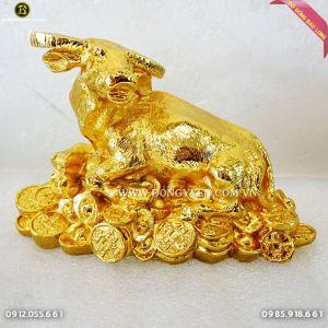 Trâu Nằm Tiền Bằng Đồng Mạ Vàng 24k dài 17cm