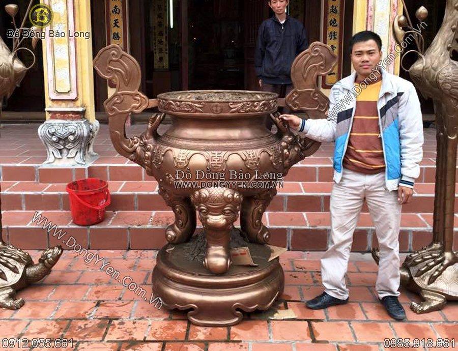 đúc lư đồng chữu vạn thợ dơi mây cho đền, chùa 1m55