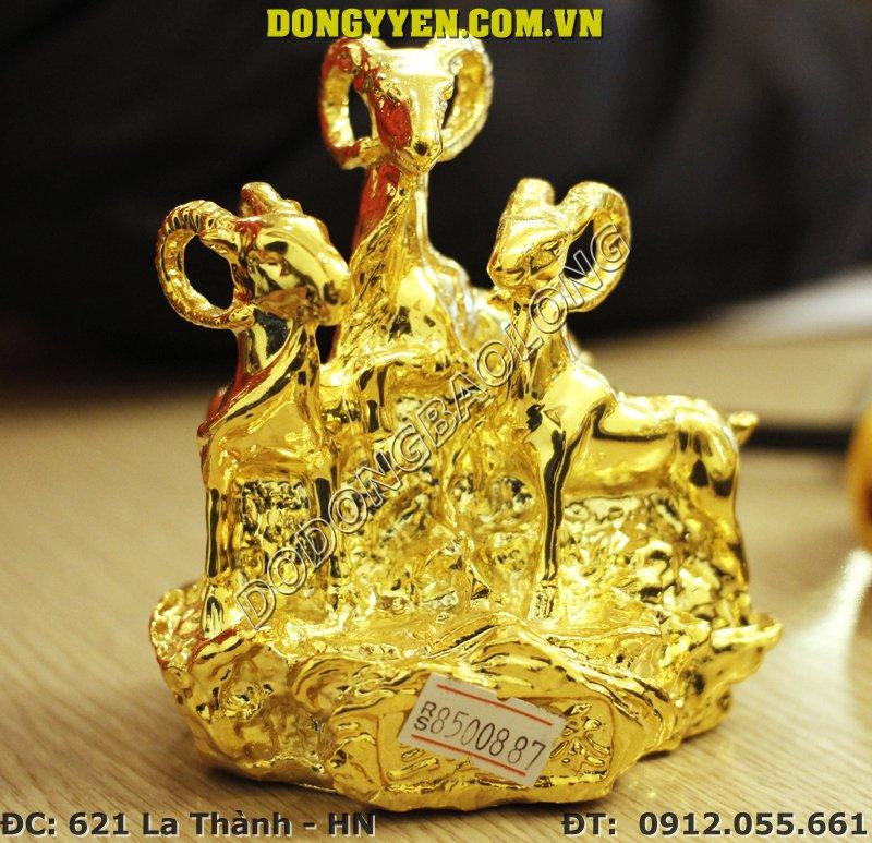 tượng dê tam dương bằng đồng mạ vàng 24K