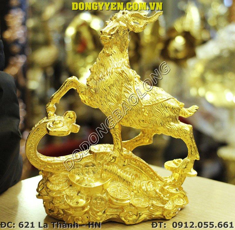 Dê Đồng Mạ Vàng Cao Cấp - Tượng Dê Bằng Đồng Mạ Vàng 24K