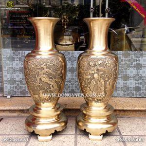 Bình Bông Bằng Đồng Thau 82cm màu mộc cho khách Tiền Giang