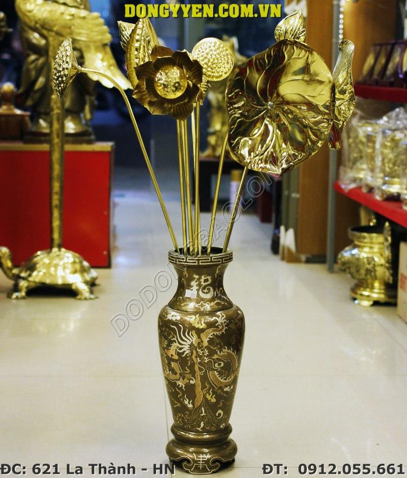 Bình Hoa Bằng Đồng Khảm Bạc 40cm - Bình Cắm Hoa Bằng Đồng