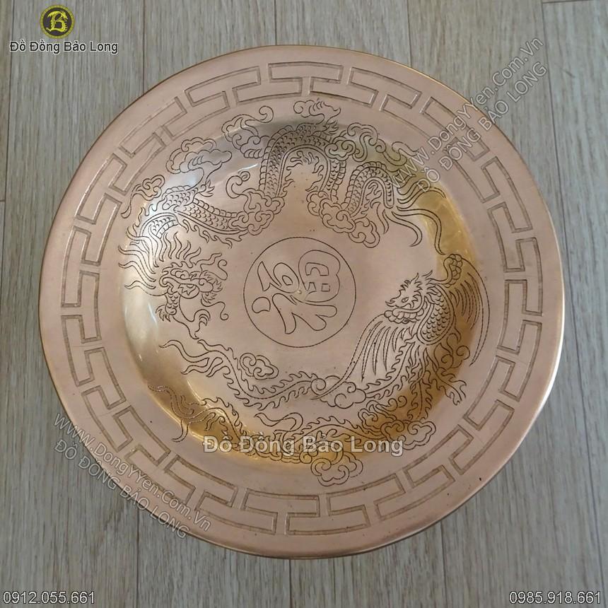 Mâm Bồng Đồng Đỏ Ám Rồng Phượng 25cm