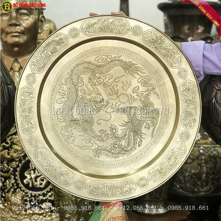 Mâm Đồng Rồng Phượng thờ cúng Bằng Đồng 52cm
