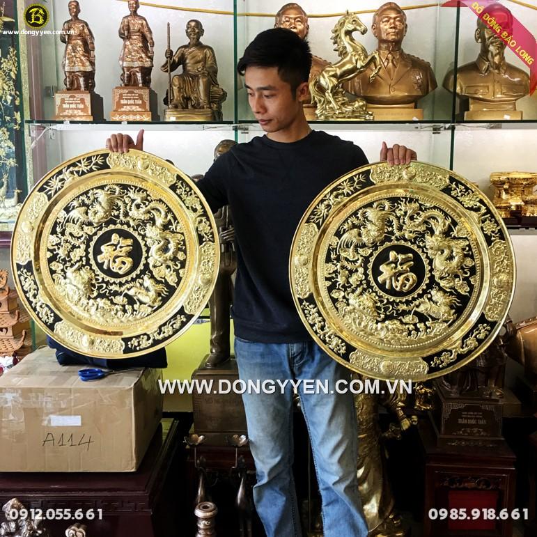 Mâm Đồng Tứ Linh 60cm Hàng Đặt
