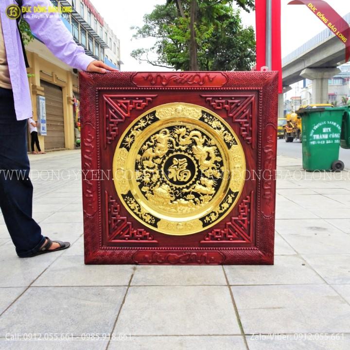 Tranh Mâm Đồng Tứ Linh 60cm Mạ Vàng 24k Khung Hương 89cm