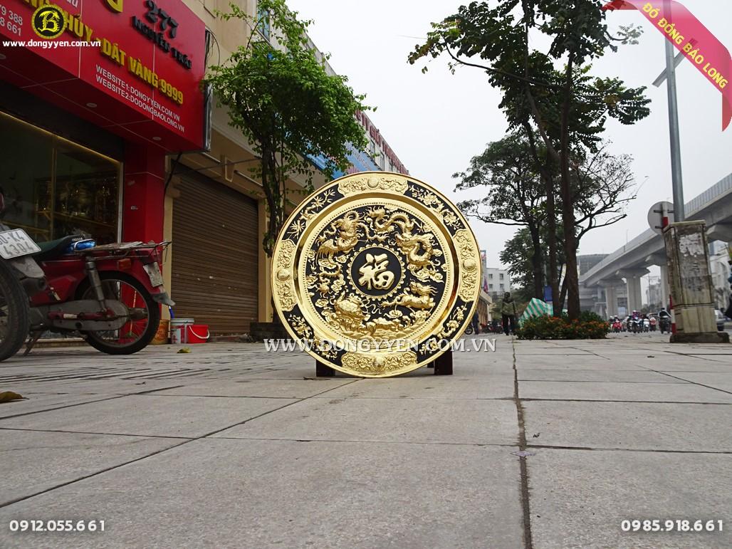 mâm đồng tứ linh 60cm mạ vàng 24k