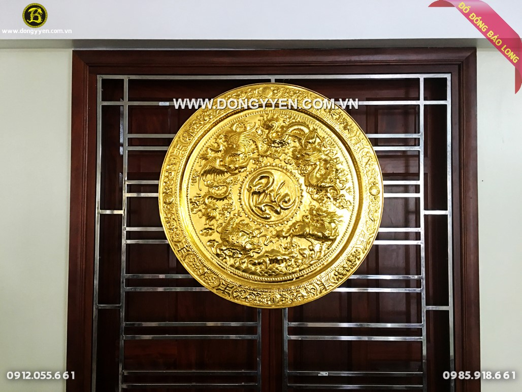 mâm đồng tứ linh chữ phúc 81cm mạ vàng 24k