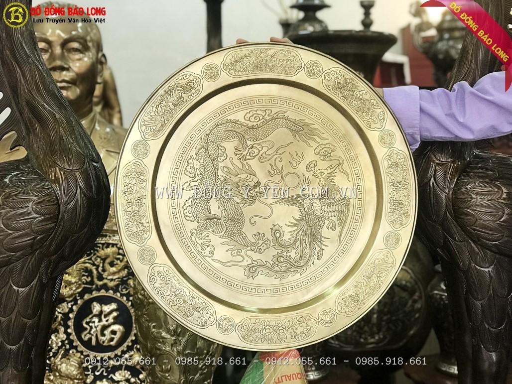 mâm đồng thờ cúng 52cm rồng phượng