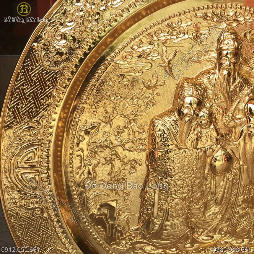 mâm phúc lộc thọ được gò chạm thủ công bằng đồng vàng