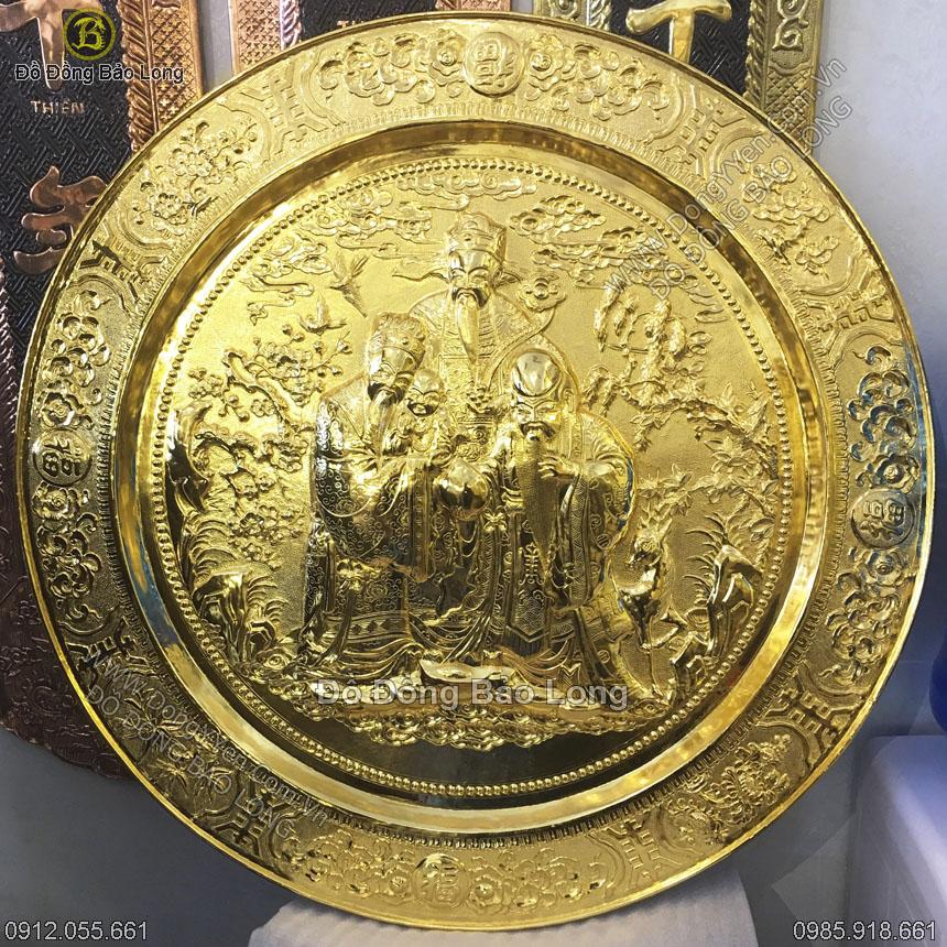 Mâm Đồng Phúc Lộc Thọ 1m Mạ Vàng 24K
