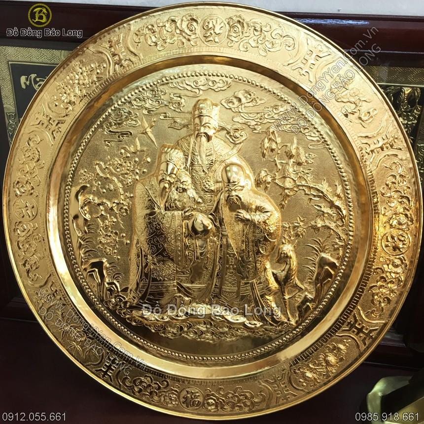 Mâm Đồng Phúc Lộc Thọ Mạ Vàng 81cm