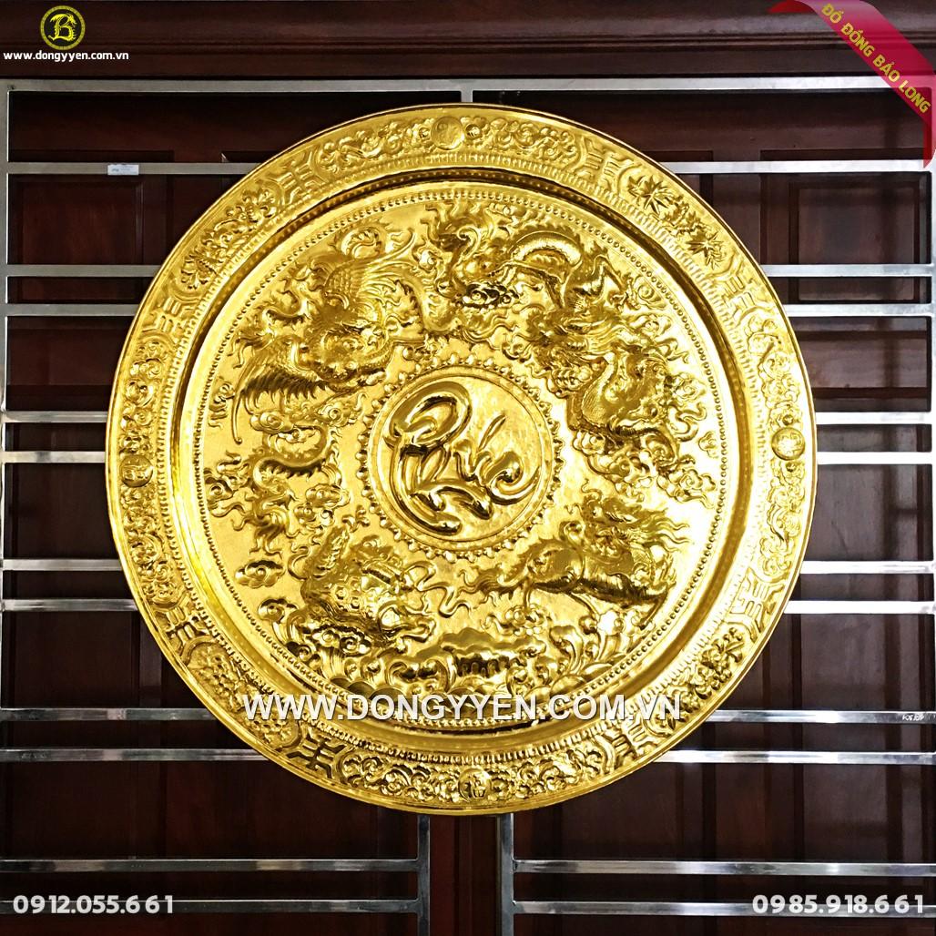 Mâm Tứ Linh Chữ Phúc Mạ Vàng 24k 81cm