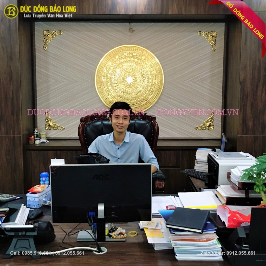 Mặt Trống Đồng Đúc Dát Vàng 90cm Cho khách Hà Đông
