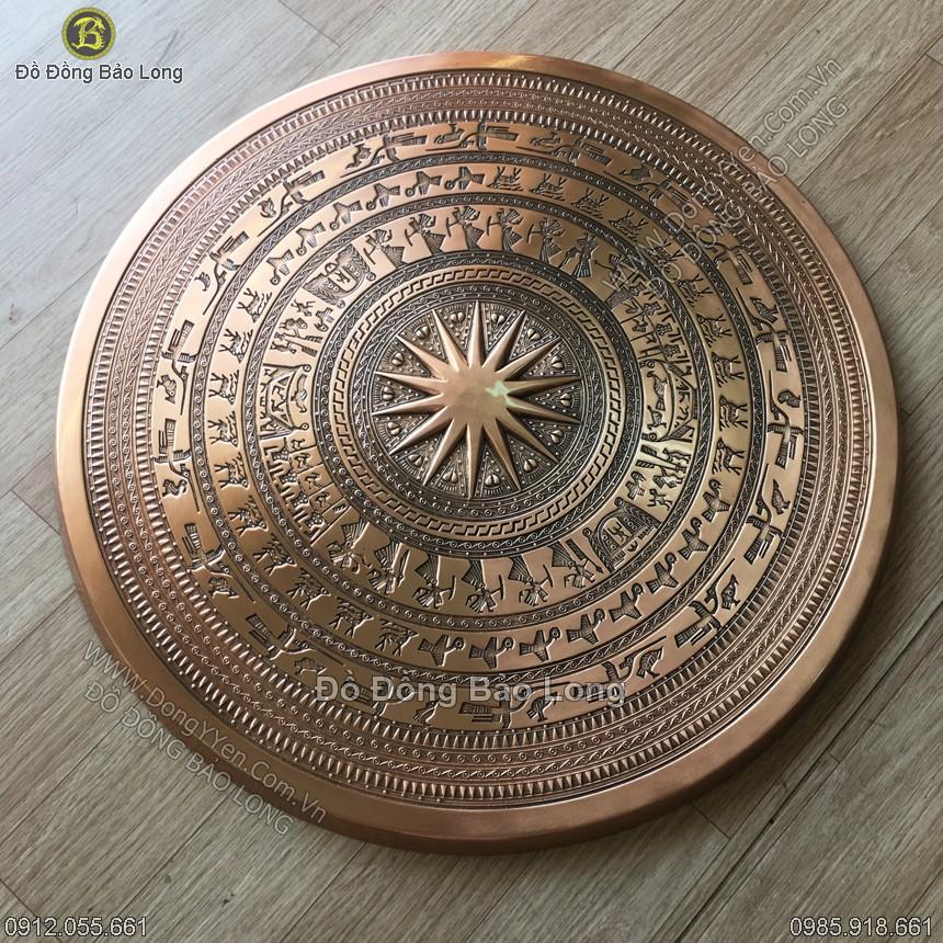 mặt trống đồng ngọc lúc đúc bằng đồng đỏ đường kính 60cm