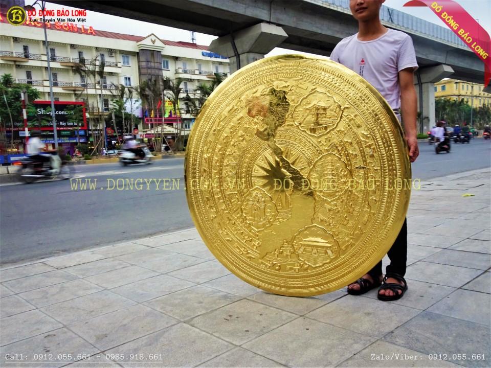 mặt trống bản đồ được chạm tinh xảo bằng đồng vàng nhập Hàn Quốc