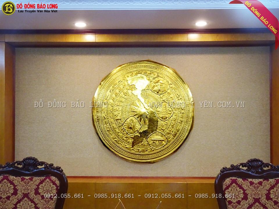 Mặt trống đồng bản đồ 1m27 được mạ phủ vàng ròng 24k điện phân 3 lớp cao cấp