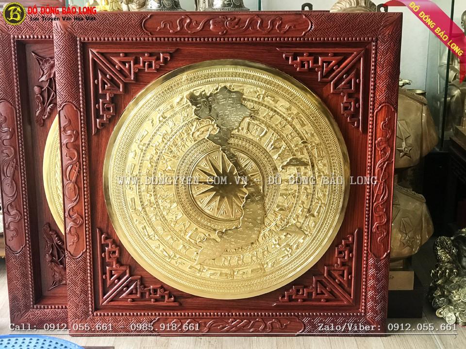 tranh mặt trống đồng bản đồ 80cm mạ vàng 24k khung gỗ hương 1m08
