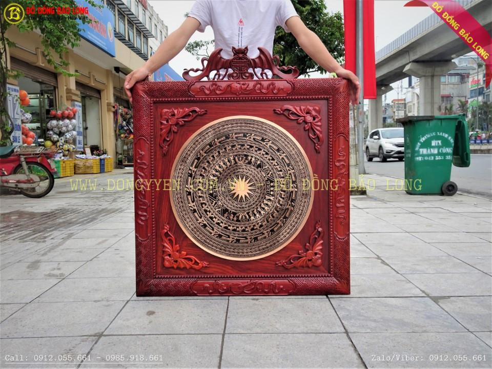 Mặt trống đồng đúc 60cm khung hương 89cm được lắp đặt tại đài truyền hình VTV