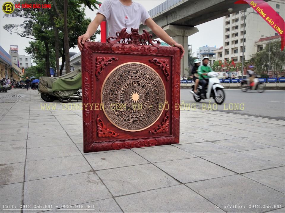 khung gỗ hương đẹp vuông 89cm đục ngũ phúc