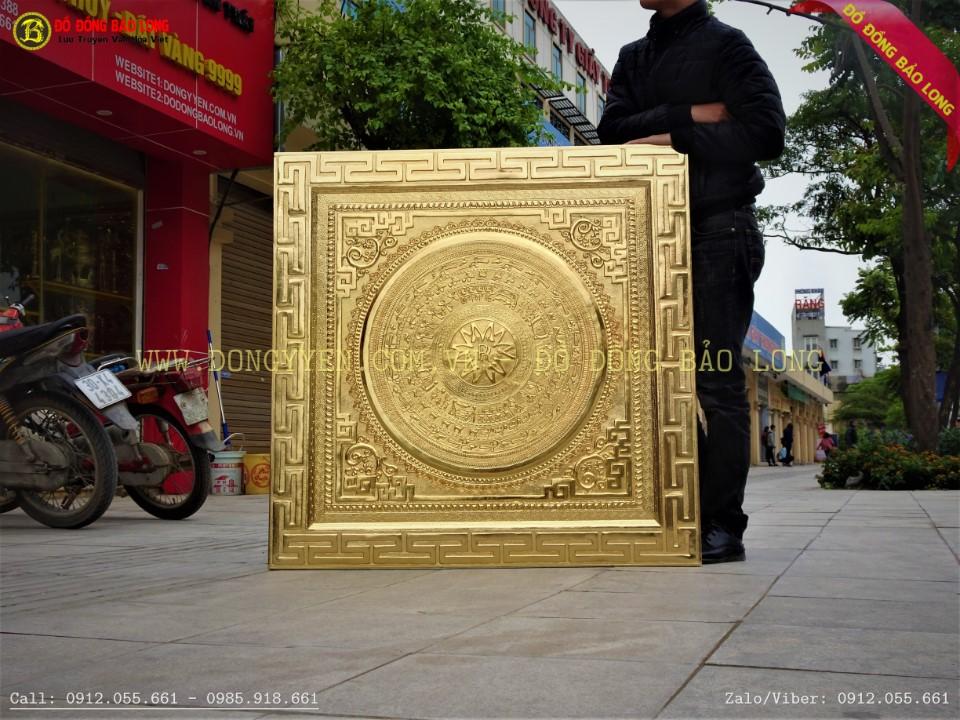 tranh mặt trống đồng logo rolls royce 1m07 mạ vàng 24k