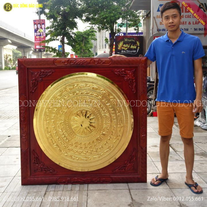 Tranh Mặt Trống Đồng 1m Mạ Vàng 24k Khung Hương 1m27