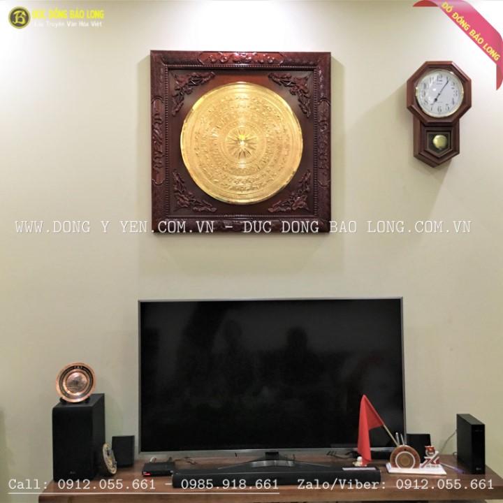 Tranh Mặt Trống Đồng Gò 60cm khung Hương 89cm mạ vàng 24k