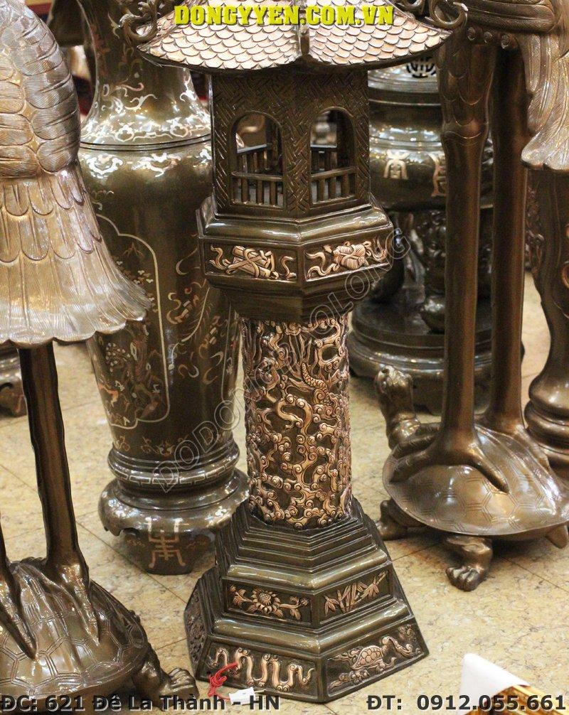 đôi đèn thờ cúng bằng đồng đỏ