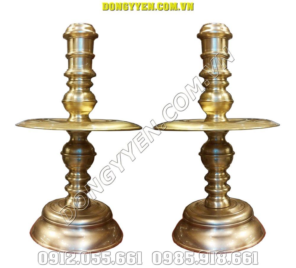 Đôi Nến Thờ Gia Tiên - Nến Thờ Bằng Đồng Vàng 50cm