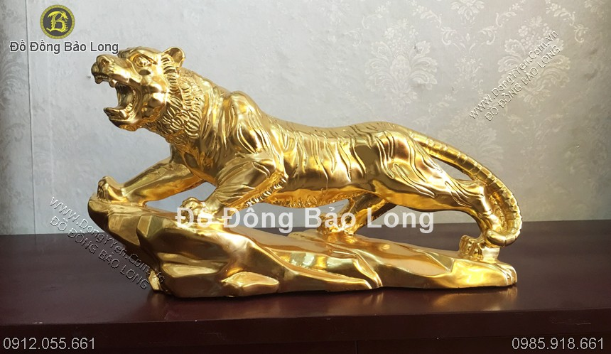 tượng hổ bằng đồng thếp vàng 9999 dài 43cm