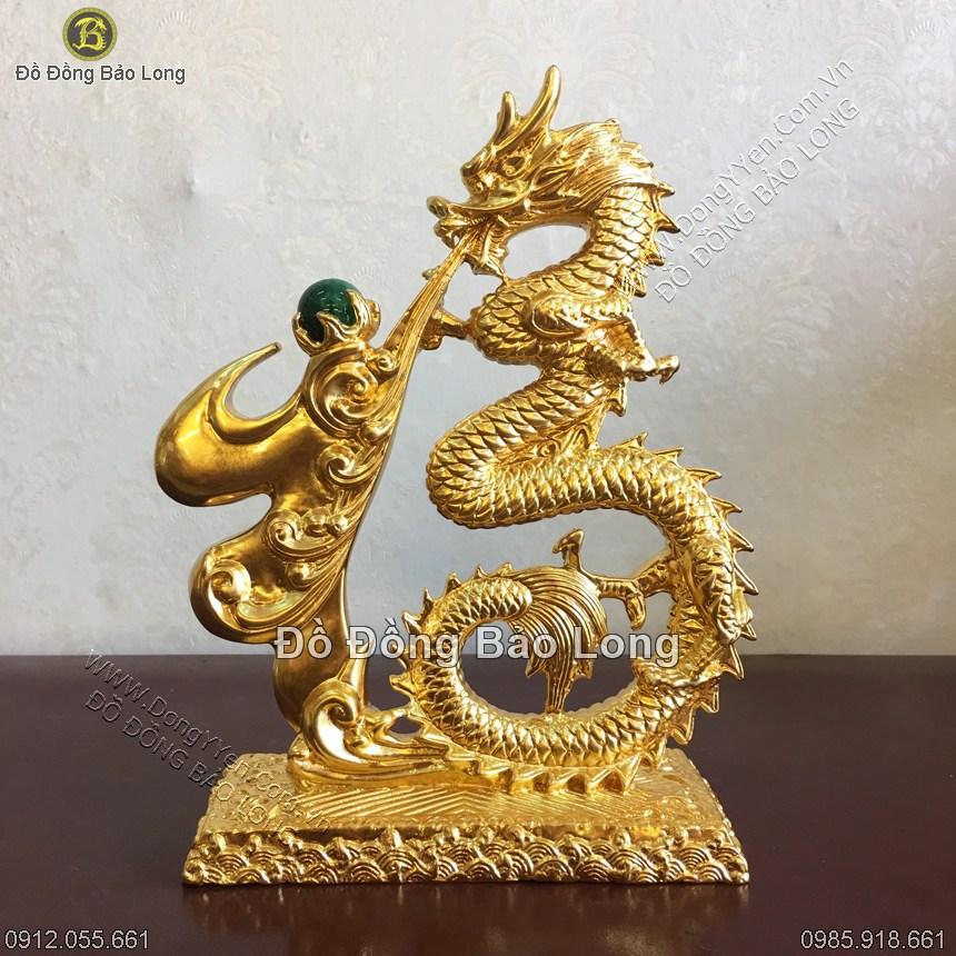 biểu tượng chữ Phúc hóa rồng bằng đồng thếp vàng 9999 cao 25cm