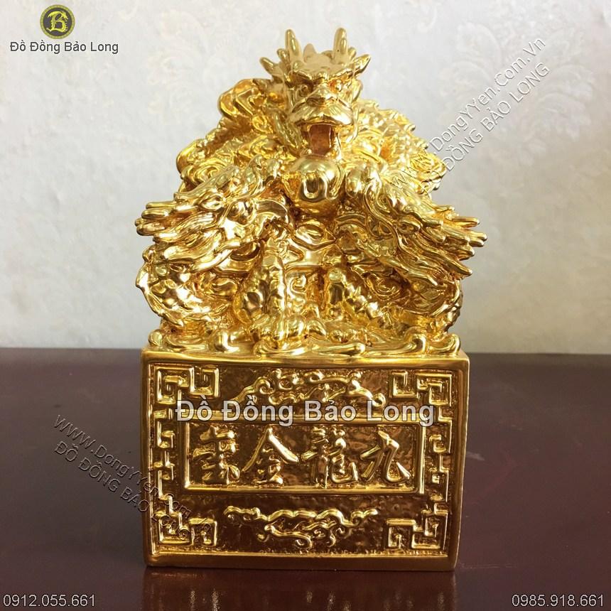 Ấn Rồng Bằng Đồng Dát Vàng 9999