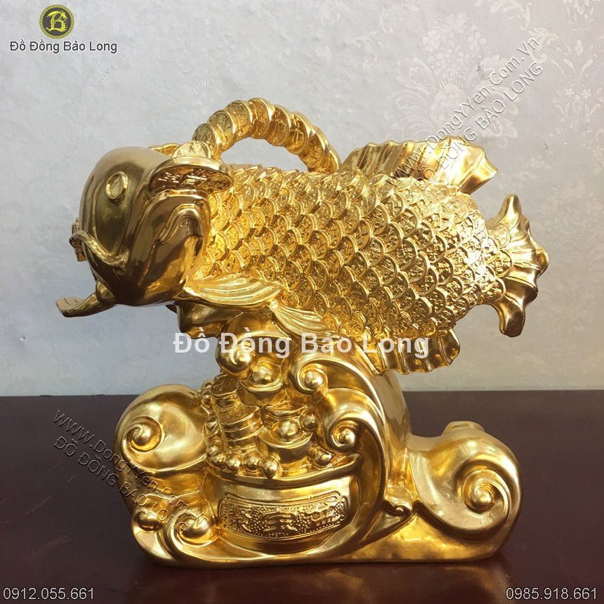 Cá Rồng Bằng Đồng Thếp Vàng 9999 23cm