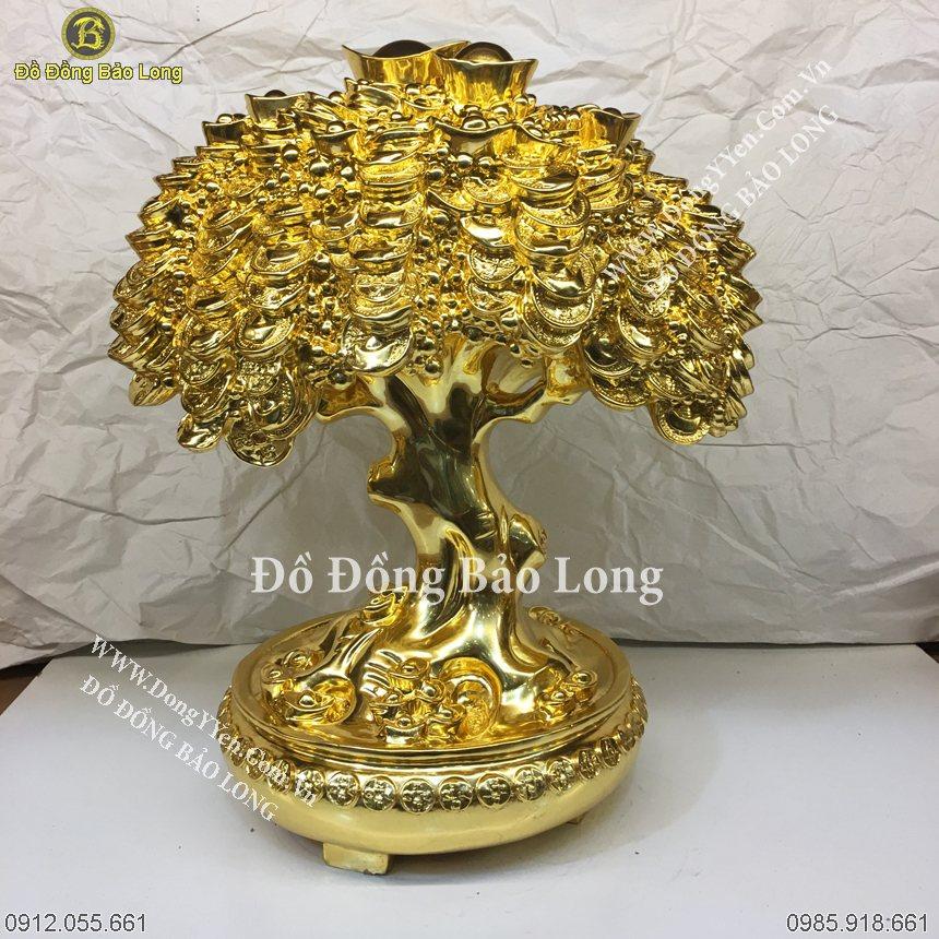 Cây Tiền Dát Vàng 9999 Cao 40Cm