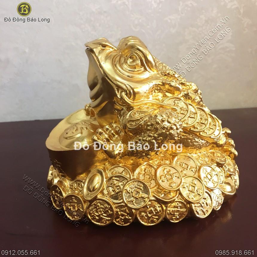 Cóc Đồng 3 Chân Thiềm Thừ Thếp Vàng 9999 Cao 14cm