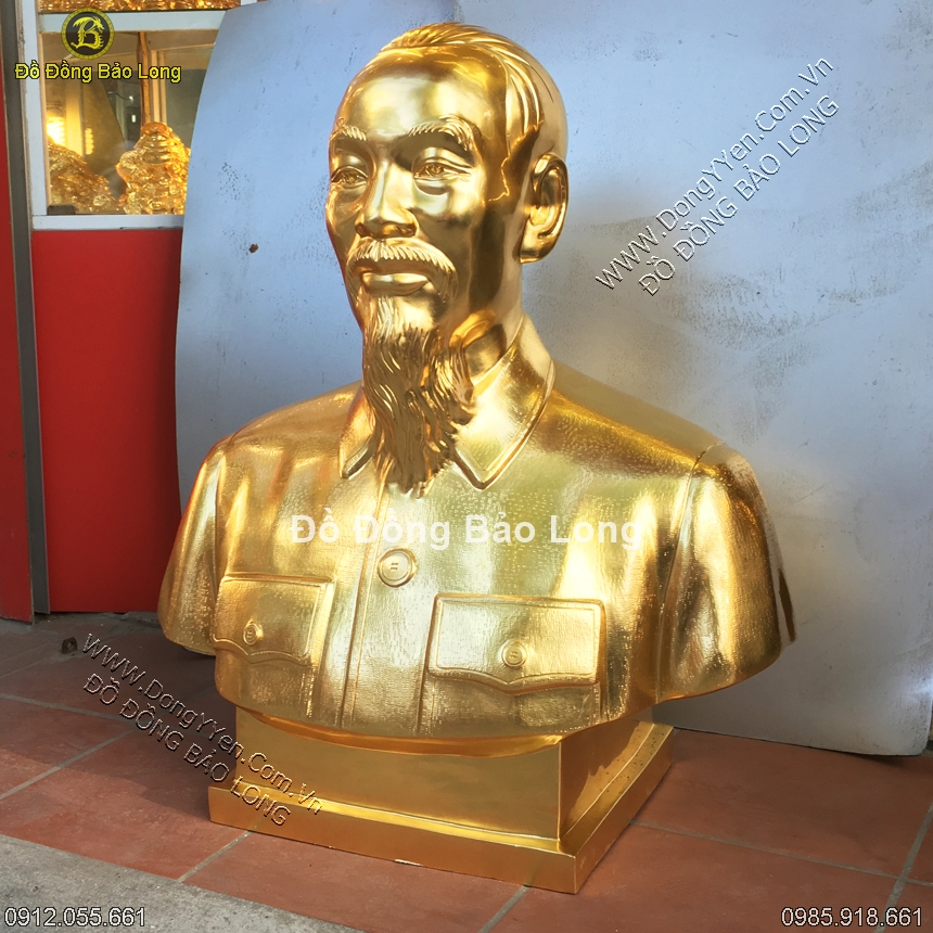 Tượng Đồng Chân Dung Bác Hồ Dát Vàng 9999 81cm