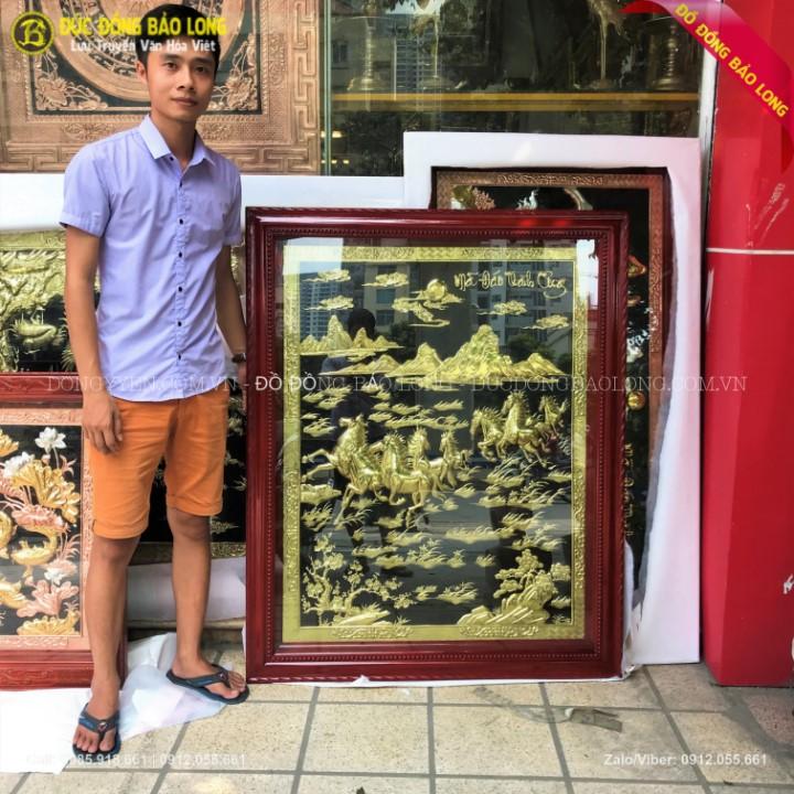 Tranh Bát Mã Bằng Đồng Khổ Đứng 1m33 x 1m07