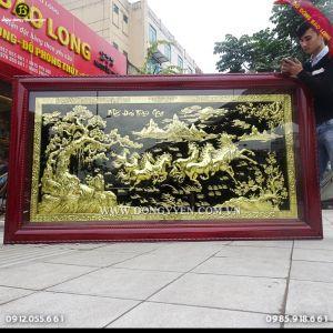 Tranh Bát Mã Bằng Đồng Khung gỗ Hương 2m31 khách Nghệ An