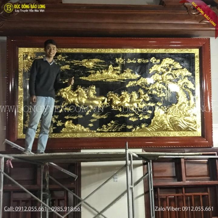 Tranh Bát Mã Dát Vàng 9999 3m21x1m76 Cho Khách Nghệ An