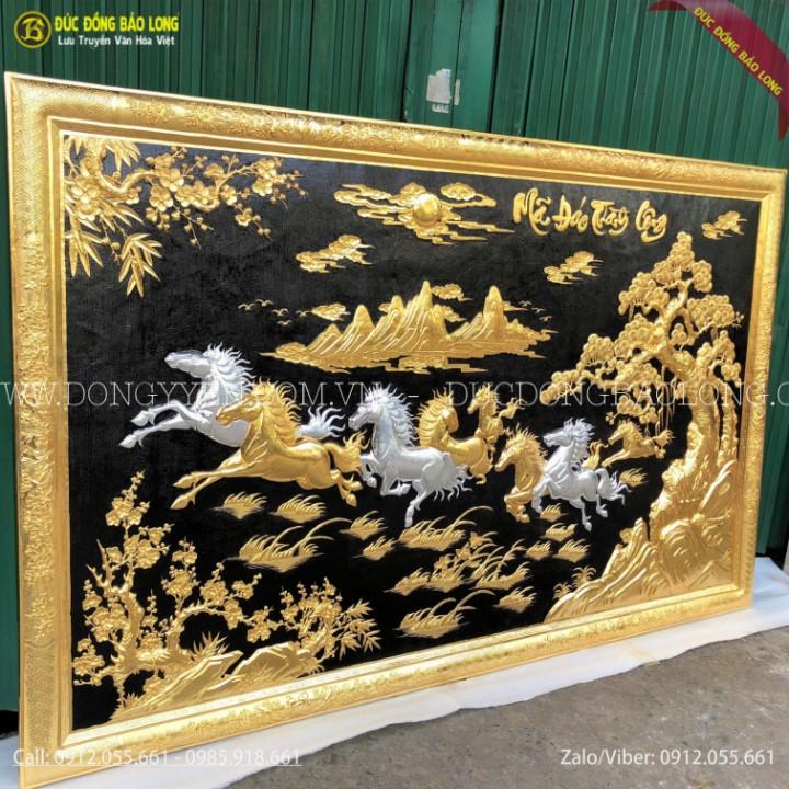 Tranh Bát Mã Khung Đồng Mạ Vàng Dát Bạc 1m97 x 1m27