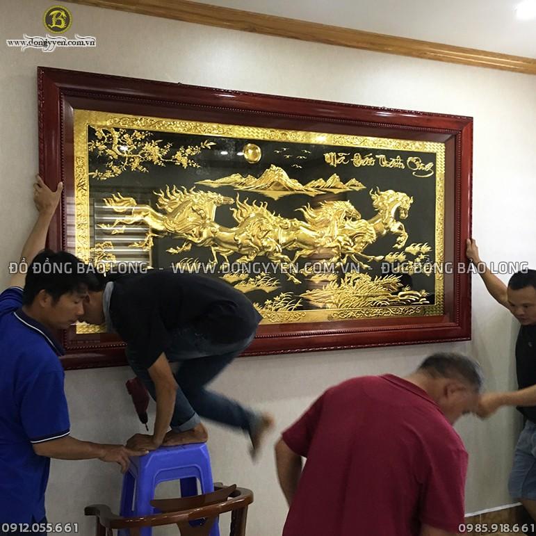 Tranh Mã Đáo Mạ Vàng 24k 2m31 Cho Biệt Thự Quảng Ninh
