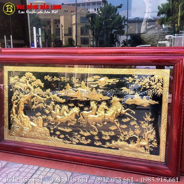 Tranh Mã Đáo Thành Công Bằng Đồng Mạ Vàng 24k Khổ 2m31 x 1m27