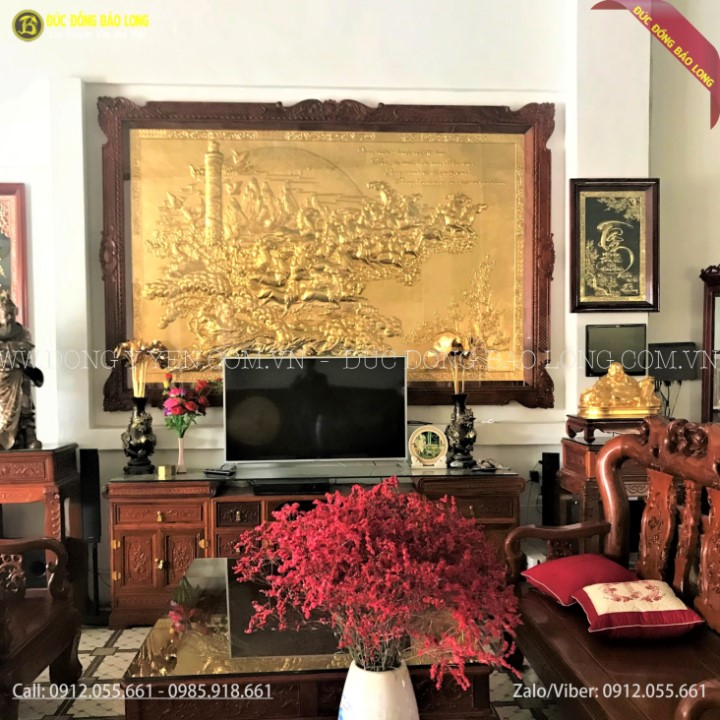 Tranh Vạn Mã Hùng Phong Bằng Đồng Mạ Vàng 24k