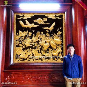 Lắp Tranh Sen Hạc 1m84 mạ vàng 24k cho Nhà Gỗ ở Hưng Yên