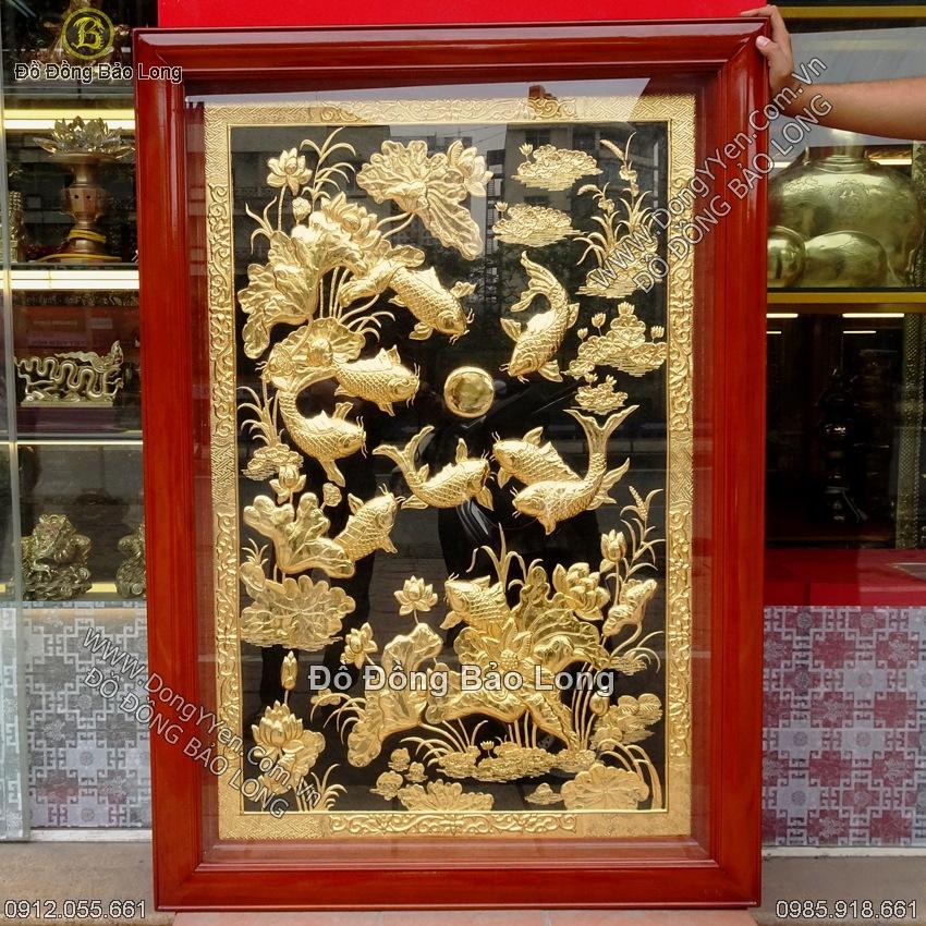Tranh Cá Chép Hoa Sen Mạ Vàng 1m27