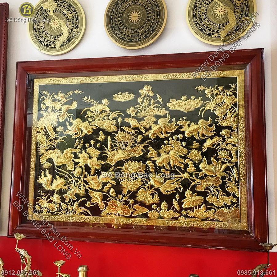 Tranh Cá Chép Hoa Sen Quần Tụ Mạ Vàng 24k 147cm