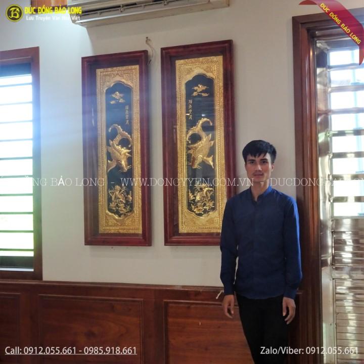 Tranh Cá Chép Trông Trăng Mạ Vàng 24k Cho Khách Lào Cai