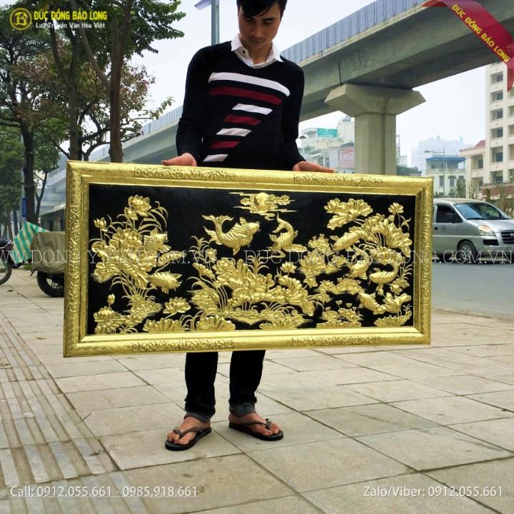 Tranh Cửu Ngư Hoa Sen Bằng Đồng 1m27x61cm khung liền đồng