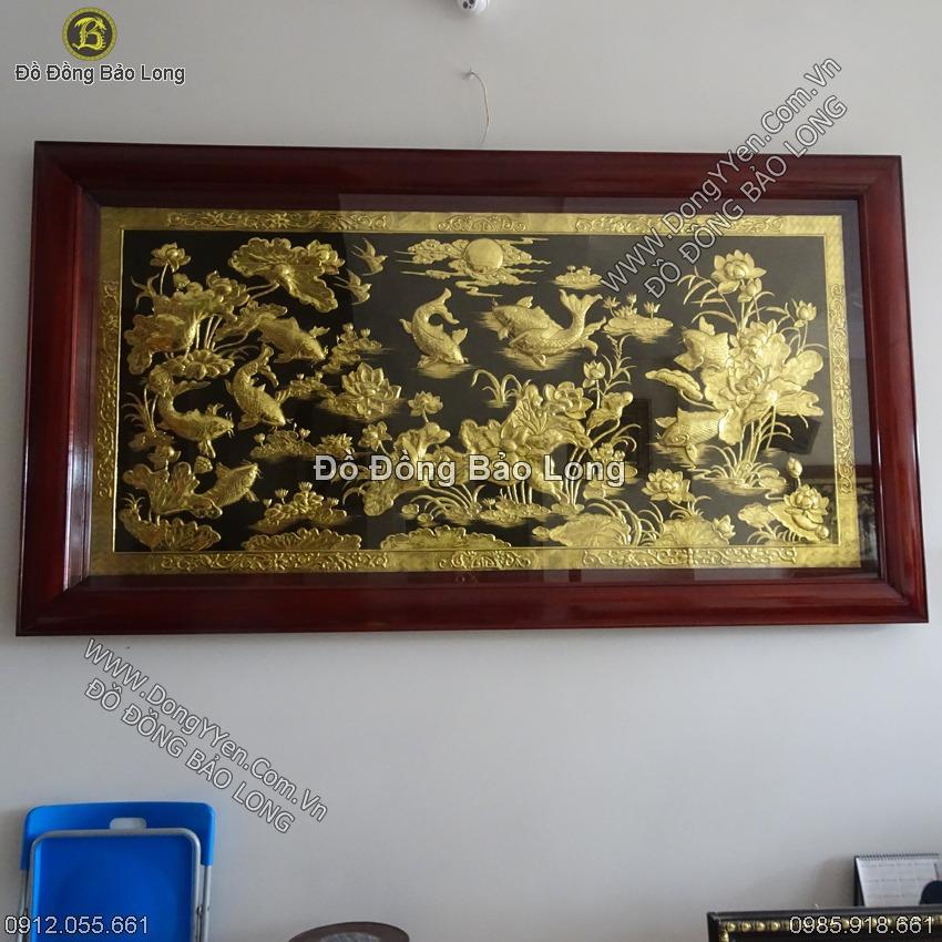 Tranh Cửu Ngư Hoa Sen Mạ Vàng 24k 2m31