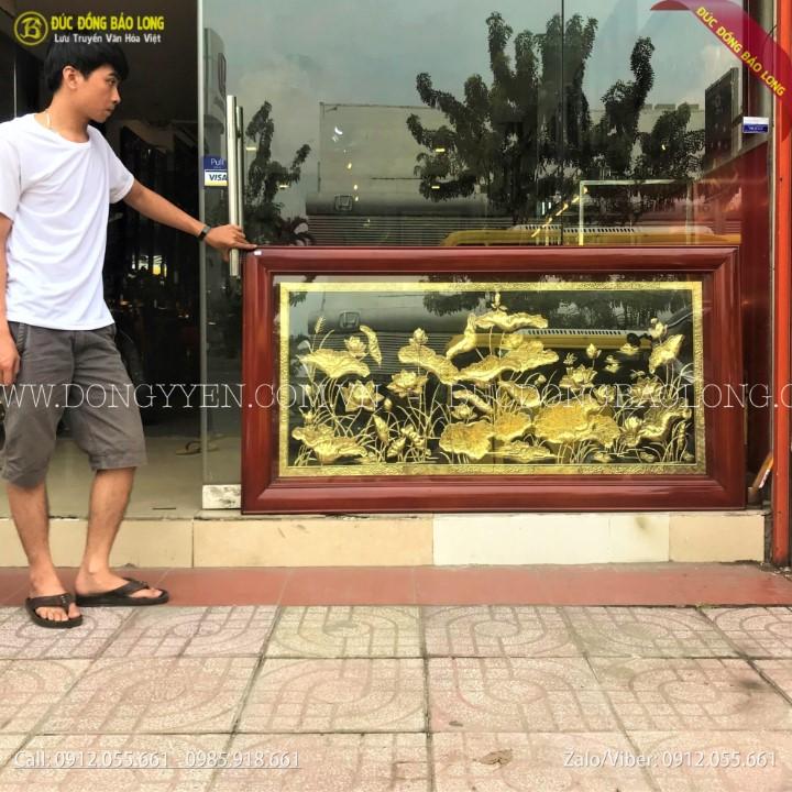 Tranh Hoa Sen Bằng Đồng 1m70 x 90cm